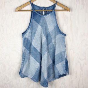 Anthropologie Cloth & Stone Blue Plaid Halter
